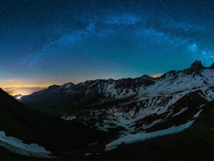 Arves, Aiguilles, Montagne, Mountain, Alpes, Alps, Voie lactée, Milky Way, Panorama, Night