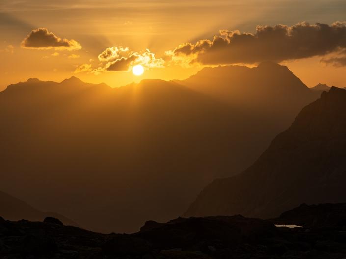 Coucher de soleil aux lacs giaset