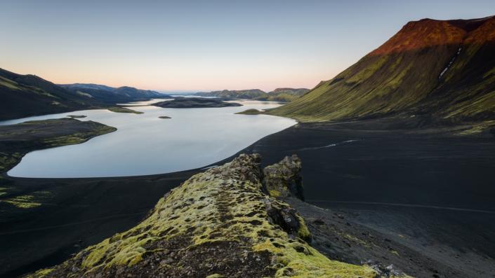Coucher de soleil à Langisjor (Islande)