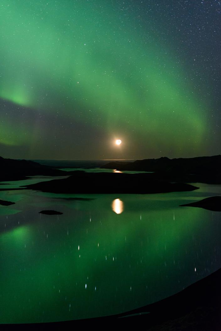 Aurores boréales à Langisjor (Islande)